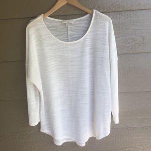 Olive & Oak Lightweight White Crewneck Sweater